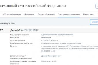 Дело ВС РФ № АКПИ17-1097
